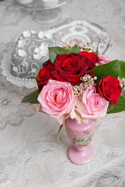 A sweetly beautiful arrangement of red and pink Valentine's Day roses. #roses #flowers #pink #vintage #shabby #chic #Valentines #Day #wedding