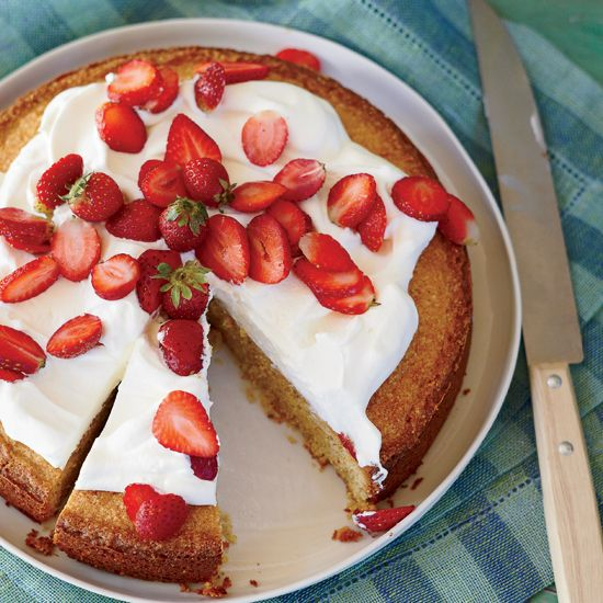 Cornmeal-Almond Cake with Strawberries and Mascarpone // More Delicious Spring Desserts: www.foodandwine.c... #foodandwine