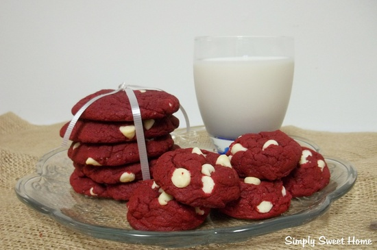 White Chocolate Chip Red Velvet Cookies
