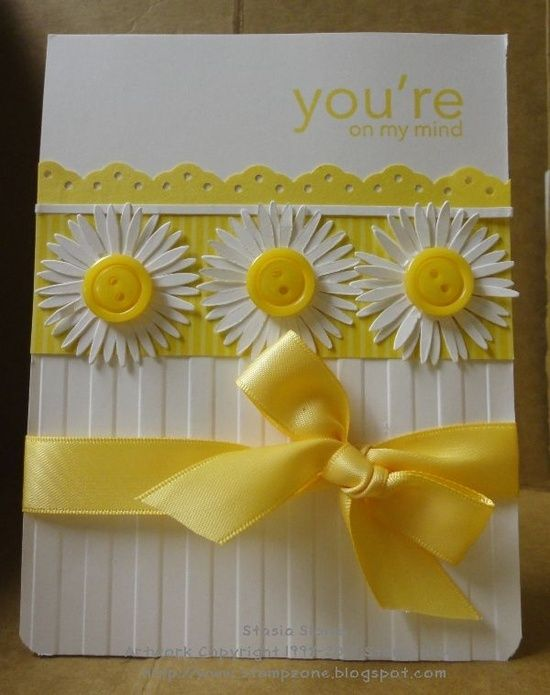 yellow hand made cards... Daisies and Yellow! You can't get a happier card than