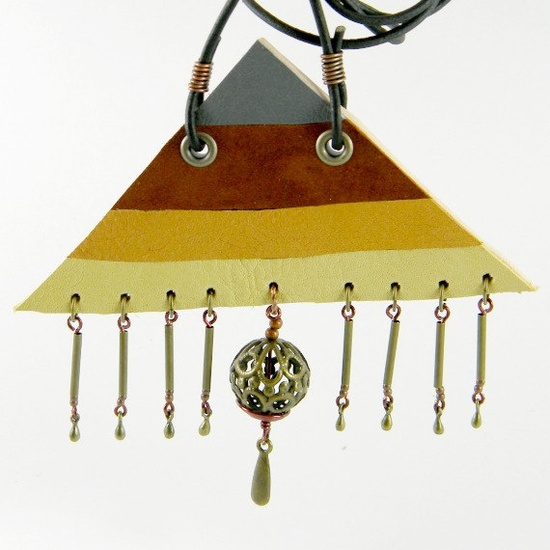 Pyramid Brass Leather Necklace by spiralDRIFT on Etsy. $30.00, via Etsy.