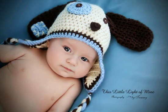 Baby Dog Hat Pick A Size Between Newborn to 12 months Pink or Blue Or Chose Your Own Colors.