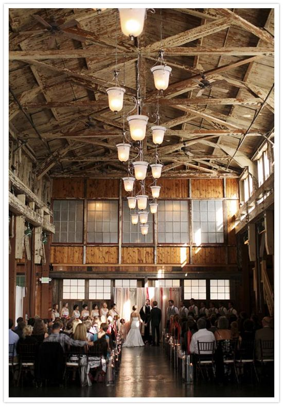 barn wedding space-love the lighting