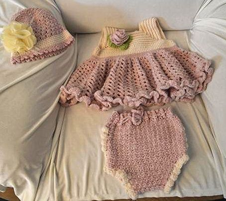 Baby girl crocheted outfit