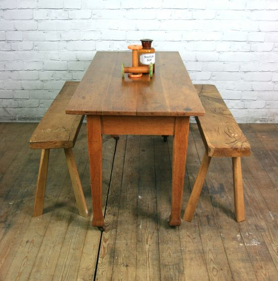 OAK VINTAGE INDUSTRIAL RUSTIC FARM DINING KITCHEN TABLE ROUGH LUXE