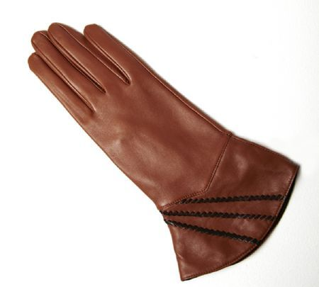 Vintage Style Leather Gloves with Whipstitch