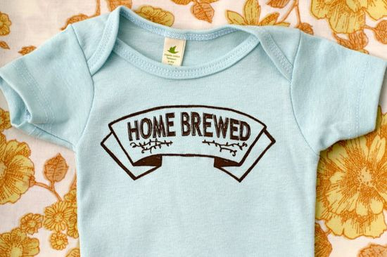Organic Cotton Onesie - Hand Printed,Home Brewed Baby, Extra Soft, good for home birthers