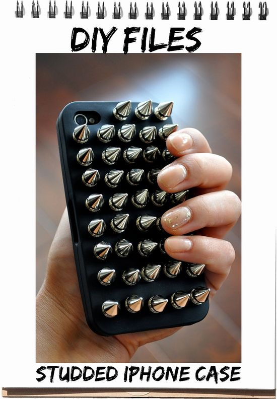 DIY FILES studded iphone case via Fuji Files.  LOVE IT! DIY Tech Do It Yourself upcycle recycle how to craft crafts instructable gadgets  fashion