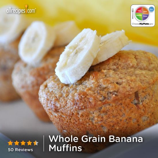 Whole Grain Banana Muffins from Allrecipes.com #myplate #fruit #dairy #grain