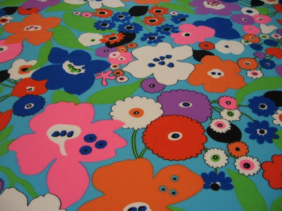 Vintage 70s neon pop floral poly fabric
