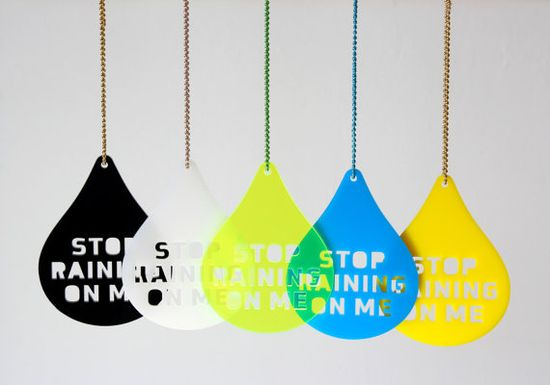 Necklace Stop Raining On Me by Zubinski on Etsy, €24.00  UK I think we've had enough rain for a while!