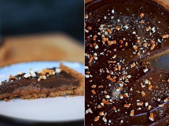 chocolate salty tart with peanut butter caramel & pretzel crust