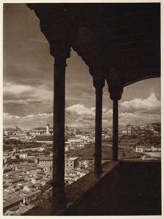 Vista del Albaicín desde Tocador de la Reina en la Alhambra, España - 1925 Foto por Kurt Hielscher