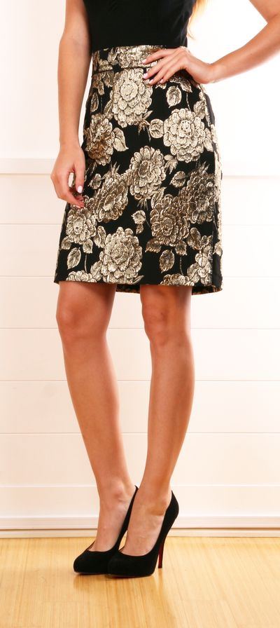 Dolce & Gabbana Brocade Gold/Black Floral Skirt