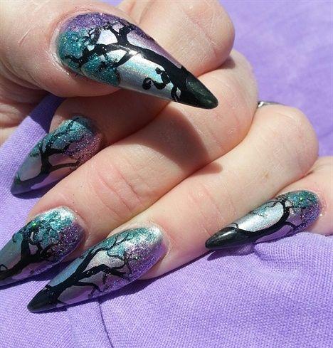 holographic...glitter leaves by Ivystar - Nail Art Gallery nailartgallery.na... by Nails Magazine www.nailsmag.com #nailart