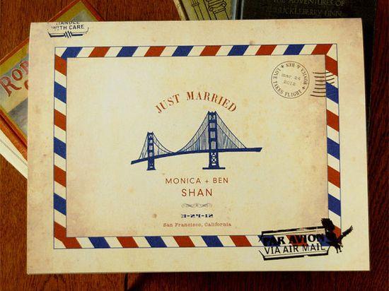 Carte Postale Vintage Inspired Airmail Wedding Guest by Earmark, $ 25.00