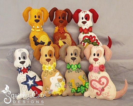 7 Dog Stuffed Animal Patterns  Holiday Dog by SquishyCuteDesigns, $24.00