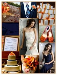 Navy Blue & Burnt Orange Wedding