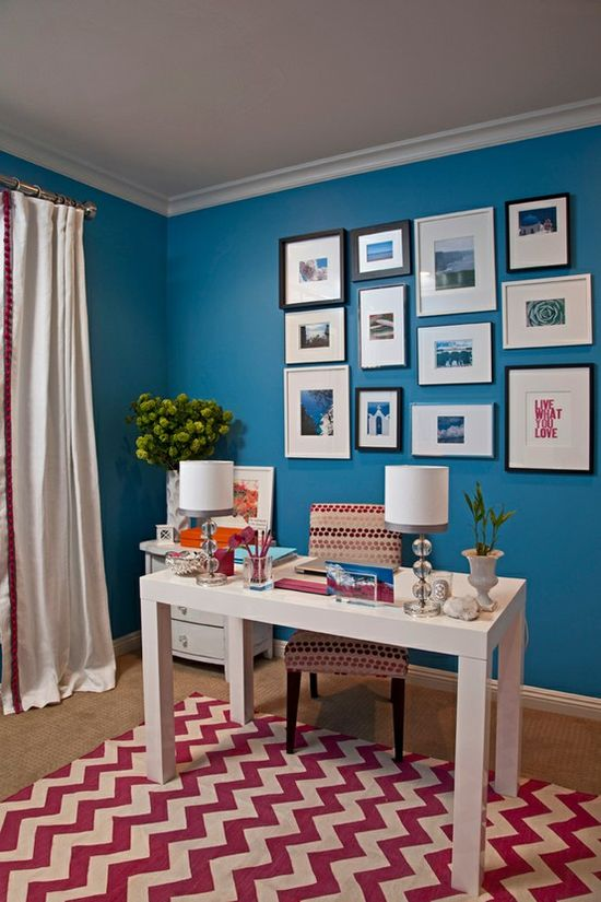 3 Simple Steps to Make Colorful Home Office: Blue Theme Colorful Home Office Design With White Curtain And 2 Table Lamps ~ Office