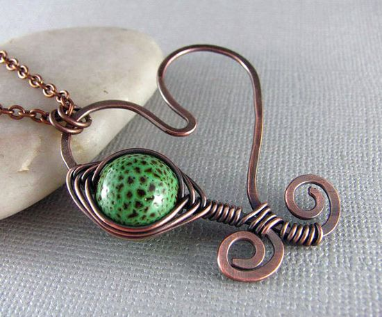 Wire Wrapped Pendant Copper Necklace Heart by PolymerPlayin, $28.00