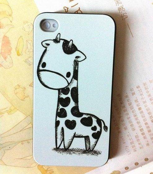 iphone 4 case, iphone 4s case, cute giraffe iphone case covers, cute iphone case. $12.99, via Etsy.