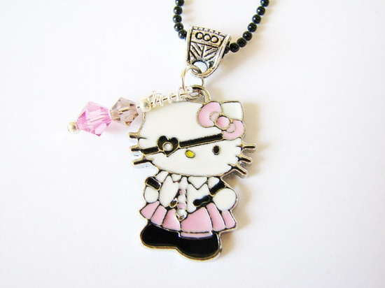 Girls Necklace Hello Kitty  Pirate Charm Pink  by Sew4Munchkins, $9.00