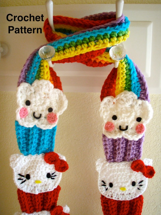 Crochet Hello Kitty Cupcake Scarf PATTERN PDF by prettythings55, $6.99