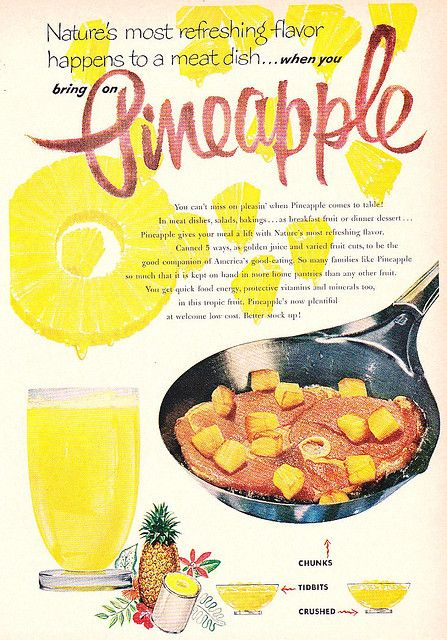 One of my favourite meat and fruit combos of all time! #ham #pineapple #vintage #food #ad #1950s
