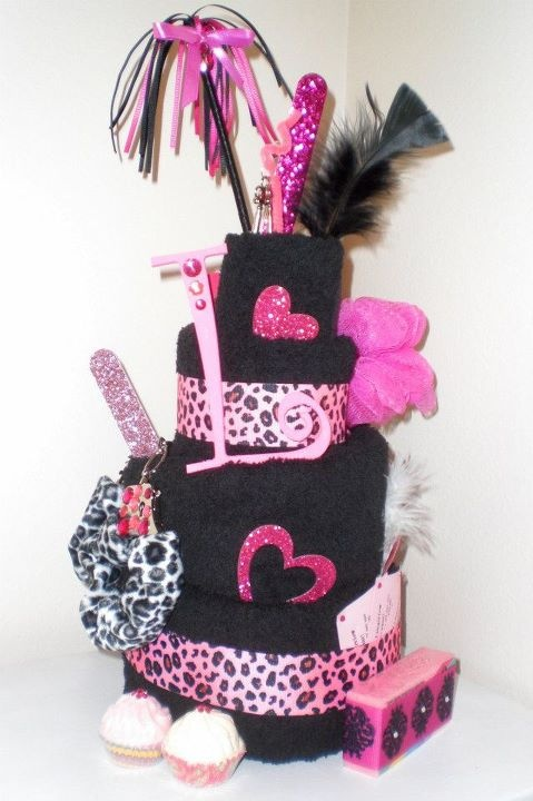 pink leopard towel cake for bachelorette party or lingerie shower.
