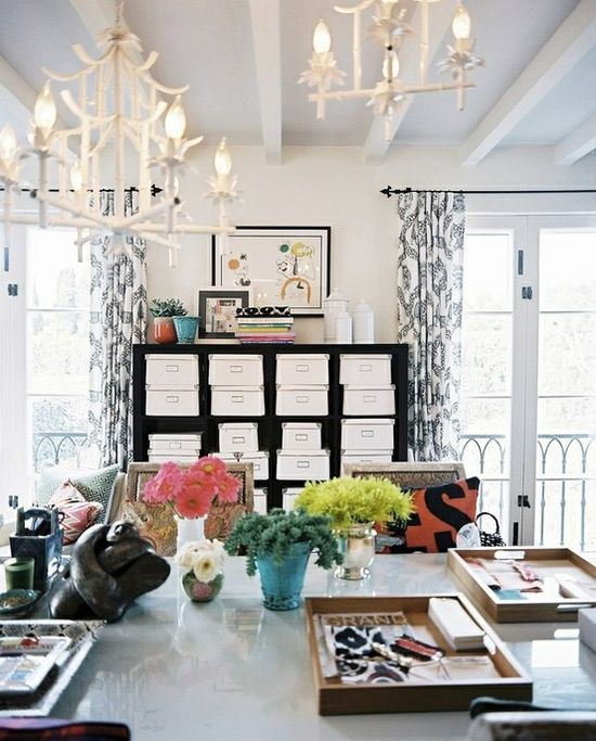 love the expedit shelves in the background with pretty white boxes
