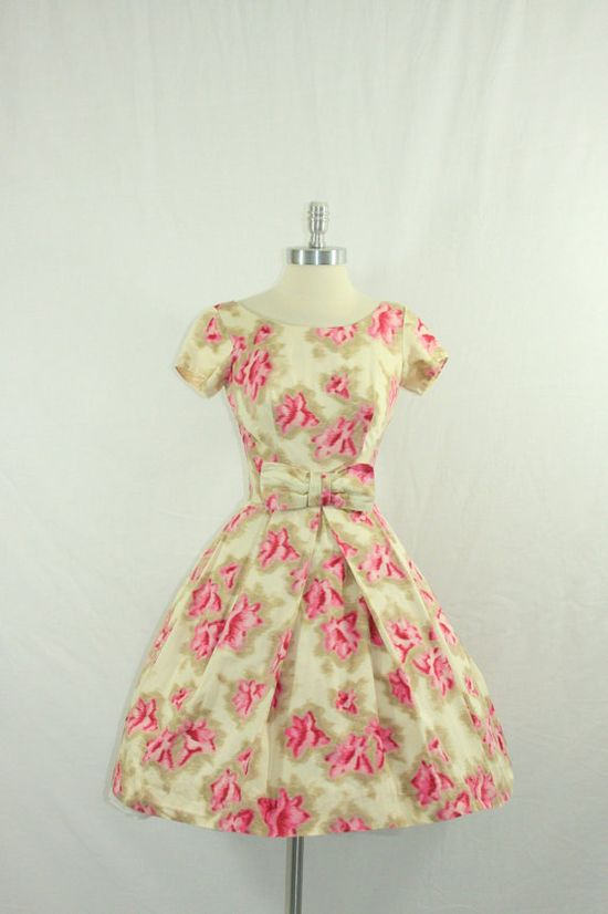 1950s Party Dress  Vintage Rayon Cotton by VintageFrocksOfFancy, $180.00