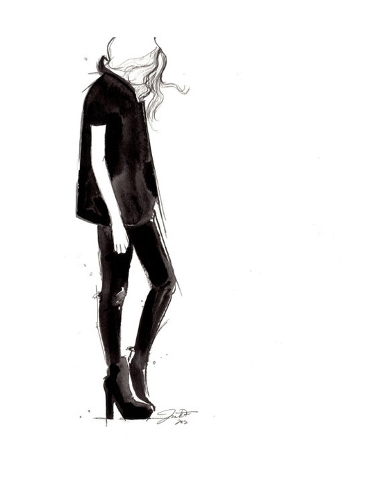 Black on Black, fashion illustration by Jessica Durrant