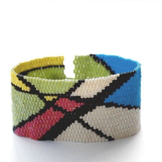 Evolutionary  Peyote Bracelet  Beadwoven Cuff  by time2cre8, $64.00