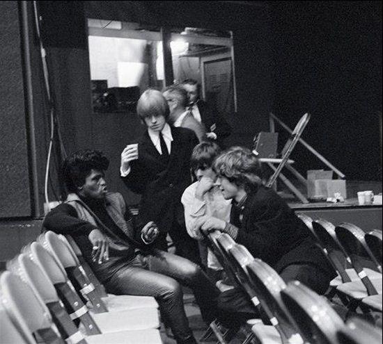 James Brown, Brian Jones, Keith Richards and Mick Jagger