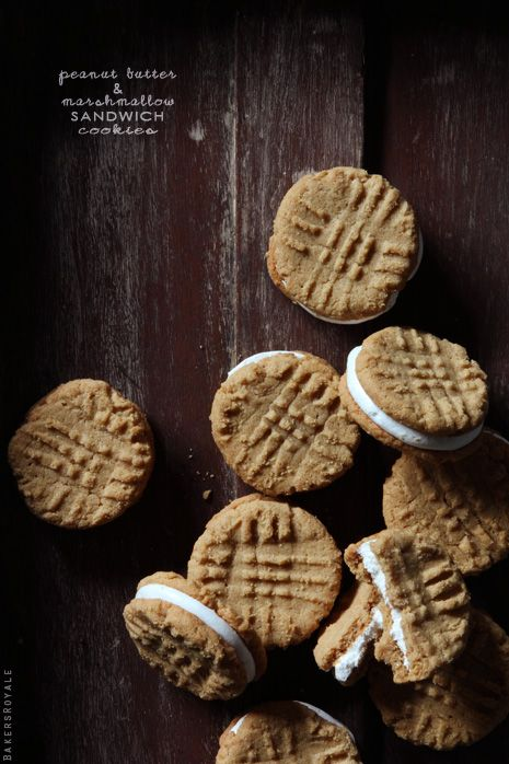 Peanut Butter & Marshmallow Sandwich Cookies via Bakers Royale