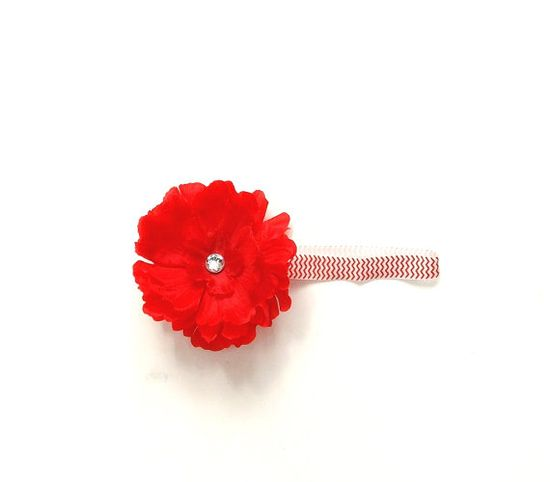 Chevron headband with red flower stretch band by SouthernSister2, $6.00