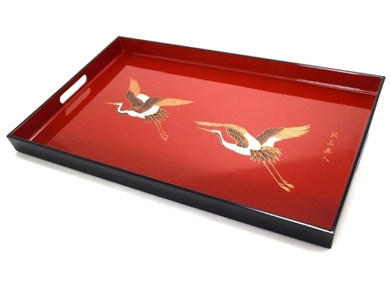 Japanese Cranes Art Lacquer Tray , over 3,000 beautiful limited production interior design inspirations inc, furniture, lighting, mirrors, tabletop accents and gift ideas to enjoy pin and share at InStyle Decor Beverly Hills Hollywood Luxury Home Decor enjoy & happy pinning