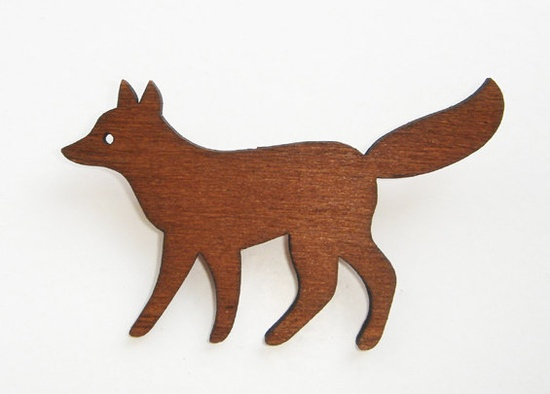 Enna Wooden Fox Brooch $16
