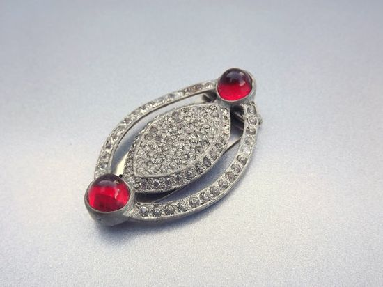 Art Deco Dress Clip Ruby Red 1920s Accessory Jewelry by STLvintage, $54.00