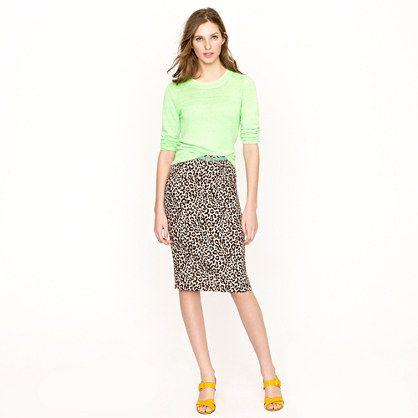 Long No. 2 pencil skirt in safari cat