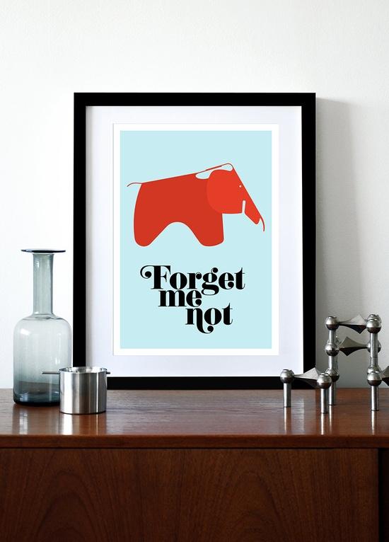 Poster, eames poster print,  Mid century modern, retro, kitchen art, office art, nursery art - Forget Me Not A3. $29.00, via Etsy.
