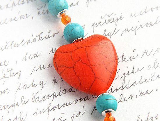 Bright Orange and Aqua Blue Turquoise Bracelet - Large Heart - Mod Look - Swarovski Crystals $52.00, via Etsy. www.etsy.com/...