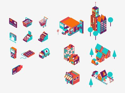Isometric icons by Patswerk