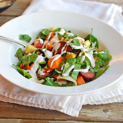 Harvest Salad with Maple Dressing - Pinch of Yum. Full recipe