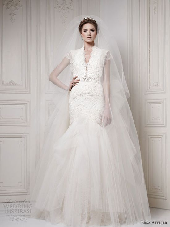 ersa atelier 2013 mermaid wedding dress short sleeves