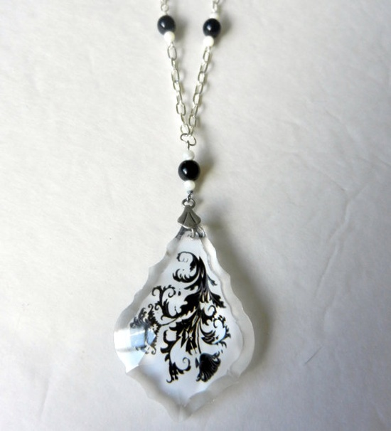 Black and White Damask Pendant Necklace by CloudNineDesignz, $25.00