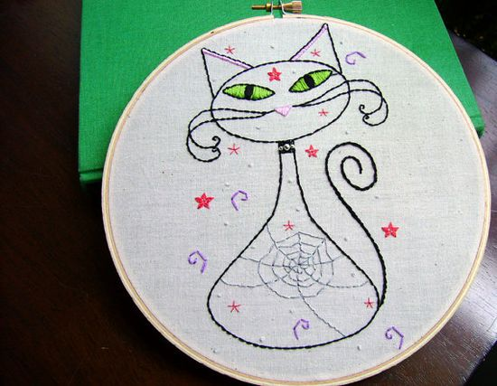 embroidery pattern - cute cat #embroidery #pattern