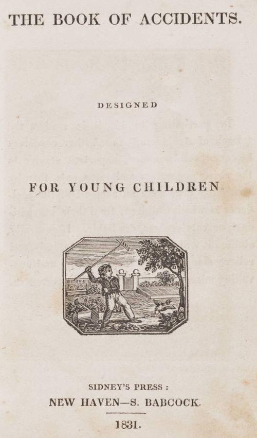 Vintage Book Covers: 1831 informative volume: The Book of Accidents - Designed for young Children.