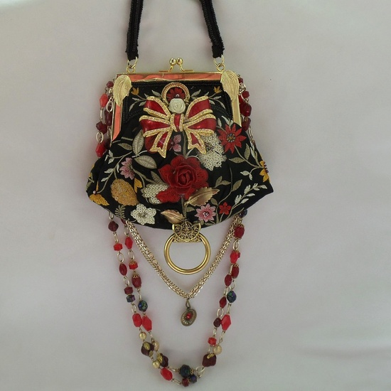 Floral Purse, beaded n bejeweled, Upcycled Vintage, Colorful Evening Party Purse, Haute Couture Home Coming Purse