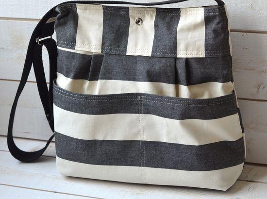 Water Proof - Diaper bag - Messenger bag-Tote STOCKHOLM  Black and Ecru Stripes II - 12 Pockets. $93.00, via Etsy.